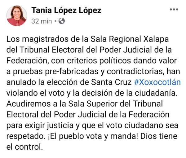 Tribunal anula elección en Xoxo, magistrados avalaron pruebas fabricadas señaló Tania López
