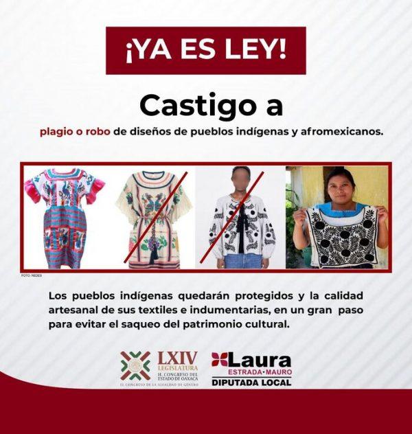 Aprueban en Oaxaca sancionar a plagiadores de textiles indígenas
