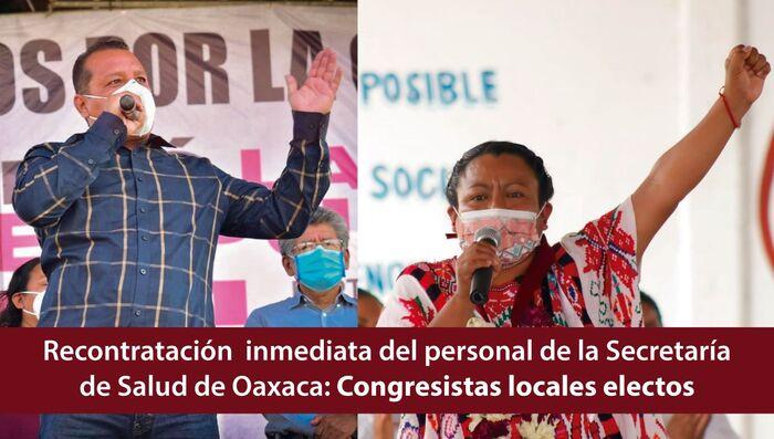 Demandan integrantes de próxima legislatura local al gobierno del estado recontratación inmediata del personal médico en Oaxaca