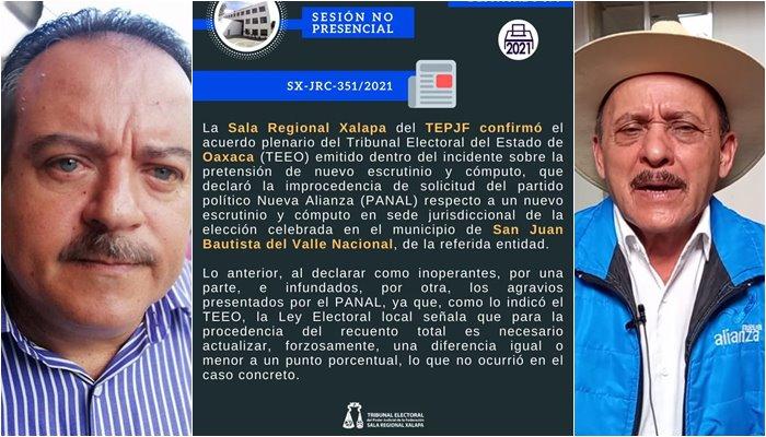 TEPJF echó abajo solicitud de PANAL para recuento de votos en Valle Nacional; elección sigue a favor de PVEM