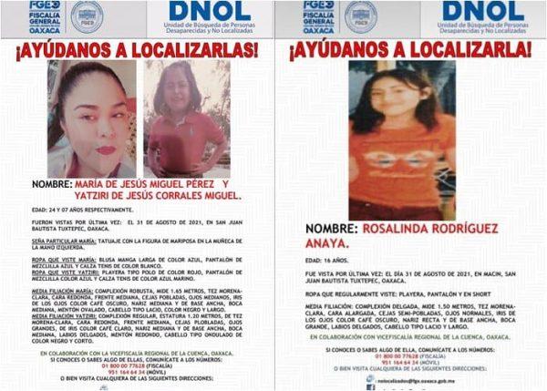Madre e hija desaparecen en Tuxtepec; buscan a otra joven más
