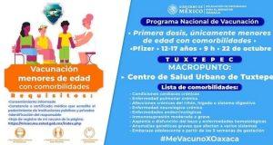 Este viernes inicia vacunación a menores de edad con comorbilidades en Tuxtepec
