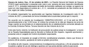 Fiscalía de Oaxaca detiene a presunto homicida de ex Presidente de Ejutla de Crespo