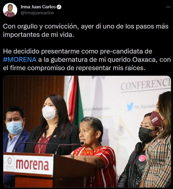 Buscará Diputada Irma Juan Carlos candidatura de MORENA al Gobierno de Oaxaca