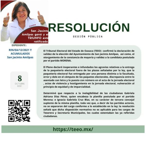 TEEO ratifica triunfo de Gabriela Díaz en San Jacinto Amilpas