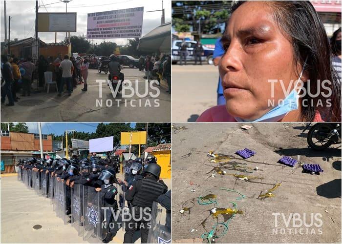 Se enfrentan comerciantes y policía municipal de Oaxaca en central de abastos