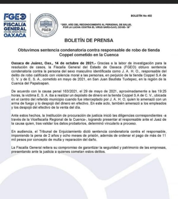 Asaltante de Coppel en Tuxtepec recibe más de 2 años de prisión