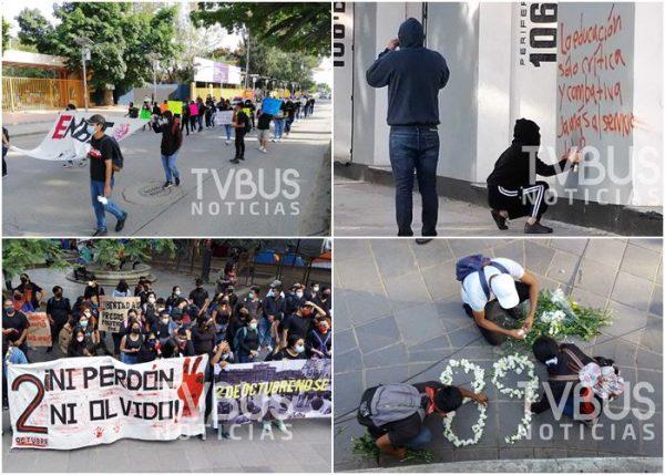 Sin ocasionar destrozos, marcharon normalistas en Oaxaca por 2 de Octubre
