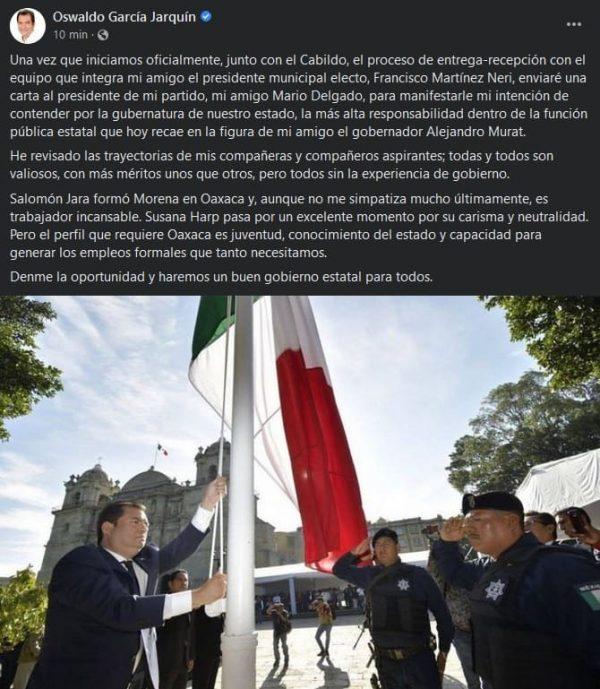 Con la capital llena de baches y ambulantes, Oswaldo García Jarquín quiere ser Gobernador de Oaxaca
