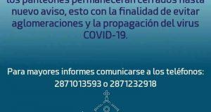 Panteones de Tuxtepec, estarán cerrados el 1 y 2 de noviembre