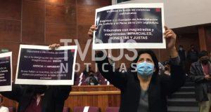Colectivos Feminista y Saxofonista protestan por designación de Jueces y Magistrados en Oaxaca