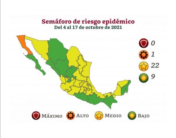 Del 4 al 17 de octubre entra en vigor el color verde en el semáforo de riesgo epidémico en Oaxaca
